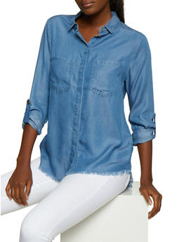 Frayed Chambray Shirt - 3077069393385