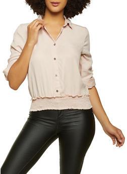 Smocked Hem Tabbed Sleeve Shirt - 3077069393481