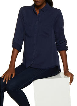 Two Pocket Button Front Shirt - 3077069395335
