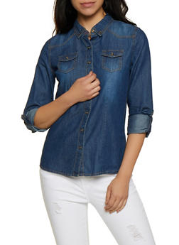 Highway Button Front Denim Shirt - 3077071311908