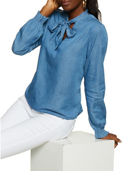 Highway Tie Neck Chambray Top - 3077071318461