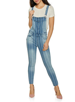 Almost Famous Striped Denim Overalls - 3078015995300
