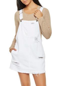 Distressed Denim Overall Dress - 3078063155606