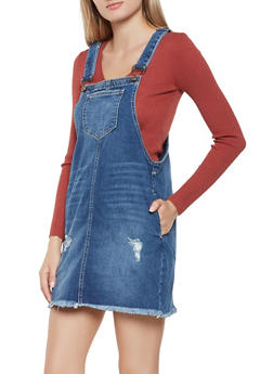 Frayed Denim Overall Dress - 3078063156374