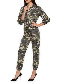 Half Button Camo Denim Cargo Jumpsuit - 3078063403324