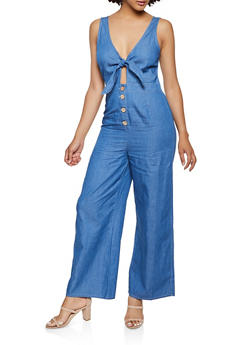 Chambray Tie Front Jumpsuit - 3078069390763