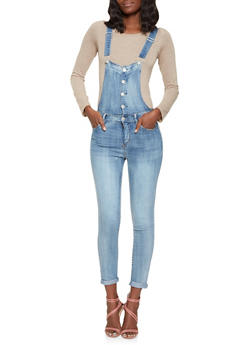 Highway Button Front Denim Overalls - 3078071312759