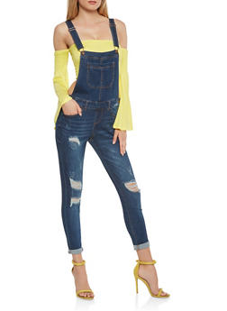WAX Distressed Denim Overalls - 3078071619092