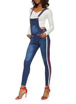 Striped Side Tape Denim Overalls - 3078072290002