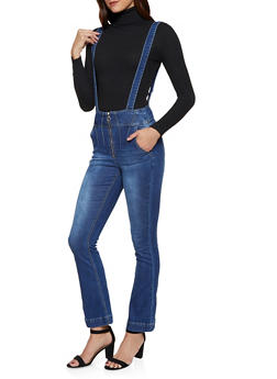 Zip Front Flared Suspender Jeans - 3078072298825