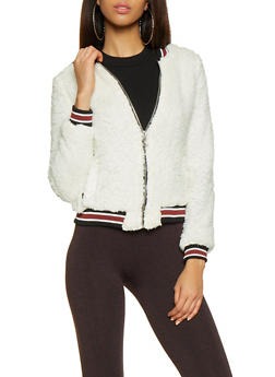 Striped Trim Sherpa Bomber Jacket - 3082051065340