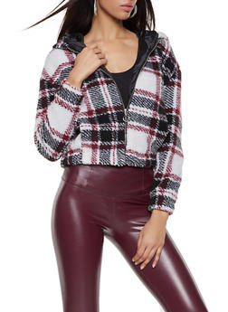 Hooded Plaid Sherpa Jacket - 3082051067168