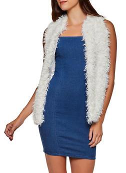 Shaggy Faux Fur Open Front Vest - 3084038340105