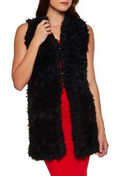 Long Shaggy Faux Fur Vest - 3084038340106