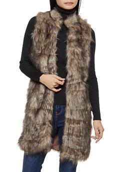 Two Tone Long Faux Fur Vest - 3084038340108