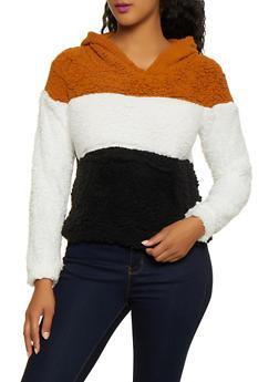Color Block Sherpa Sweatshirt - 3084038344552