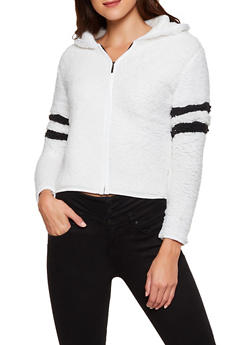 Hooded Varsity Stripe Sherpa Zip Jacket - 3084038344554