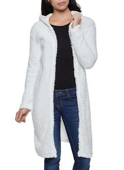 Hooded Open Front Sherpa Jacket - 3084038344557