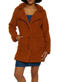 Sherpa Button Front Peacoat - 3084038344559