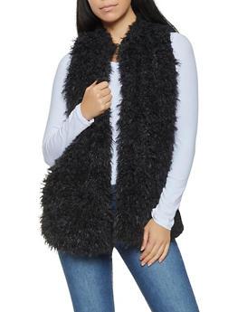 Shaggy Faux Fur Vest - BLACK - 3084038349022