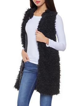 Long Shaggy Faux Fur Vest - 3084038349023