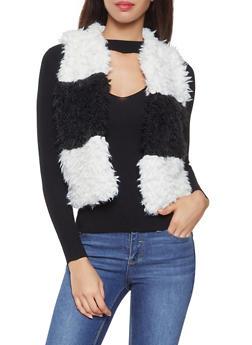Color Block Shaggy Faux Fur Vest - 3084038349025