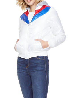 Chevron Color Block Bubble Jacket - WHITE - 3084051066797