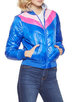 Chevron Color Block Bubble Jacket - RYL BLUE - 3084051066797