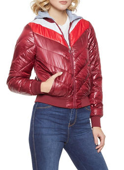 Chevron Color Block Bubble Jacket - WINE - 3084051066797