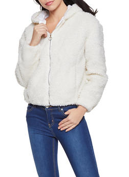Hooded Zip Front Sherpa Jacket - 3084051067168