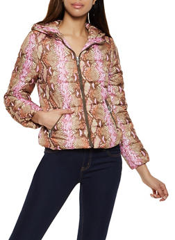 Animal Print Hooded Puffer Coat - PINK - 3084051067503