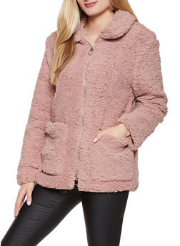 Collared Zip Front Sherpa Jacket - 3084051067505