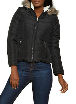 Sherpa Lined Hood Quilted Puffer Jacket - 3084051067738