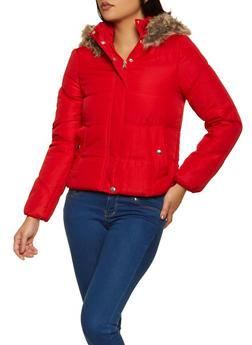 Faux Fur Hood Puffer Jacket - 3084051067741