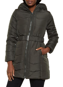 Long Belted Puffer Coat - 3084051067742