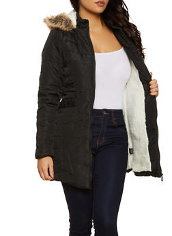 Sherpa Lined Hooded Puffer Jacket - 3084051067765