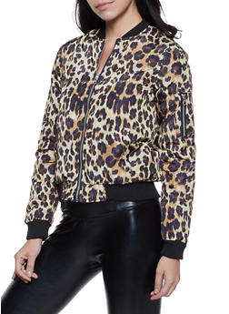 Animal Print Bomber Jacket - 3084051067806