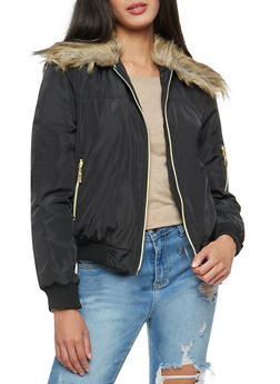 Flight Jacket with Faux Fur Collar - 3084051068640