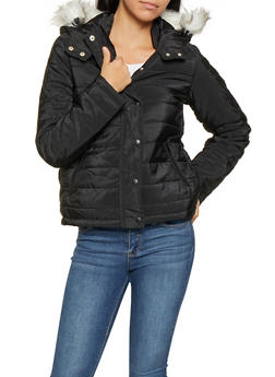 Faux Fur Hooded Puffer Jacket - BLACK - 3084054260567