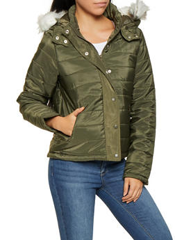 Faux Fur Hooded Puffer Jacket - 3084054260567