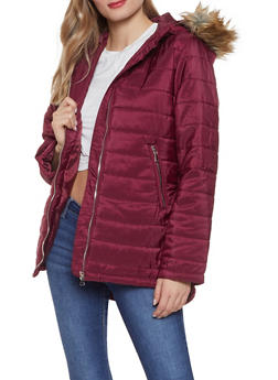 Faux Fur Hooded Puffer Jacket - 3084054260568