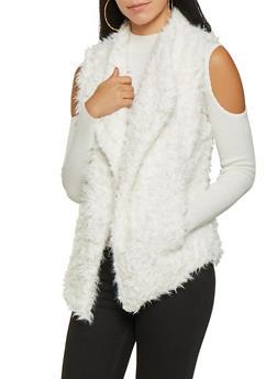 Shaggy Faux Fur Vest - IVORY - 3084054265931