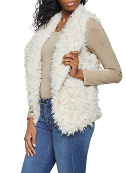 Shaggy Faux Fur Vest - BEIGE - 3084054265931