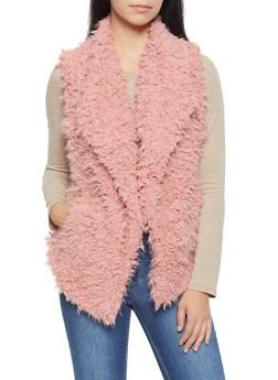 Shaggy Faux Fur Vest - MAUVE - 3084054265931
