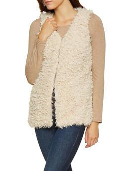 Shaggy Faux Fur Vest - BEIGE - 3084054267916