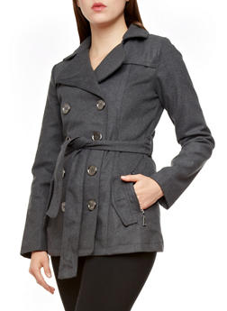 Belted Double Breasted Peacoat - CHARCOAL - 3085051060340