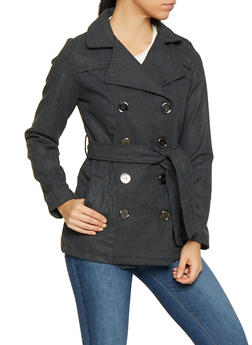 Belted Double Breasted Peacoat - 3085051060340