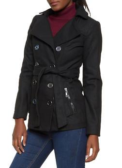 Zip Pocket Wool Peacoat - 3085051060341