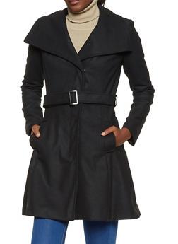 Open Collar Wool Coat - 3085051065056