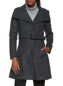 Open Collar Wool Coat - 3085051065056